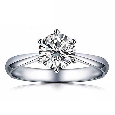 18K金六爪珠宝钻戒钻石戒指铂金求婚结婚裸钻钻戒正品定制